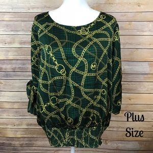 Michael Kors Green Top With Gold Chain Print
